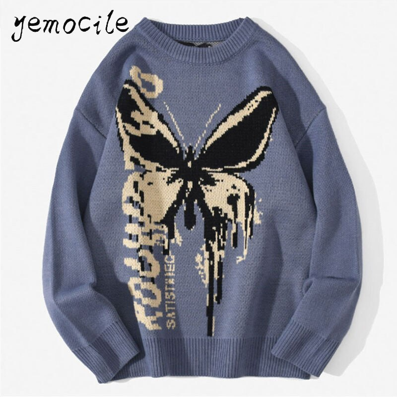 Hip Hop Knitwear Mens Sweaters 2020 Harajuku Fashion Butterfly Male Loose Tops Casual Streetwear Pullover Sweaters