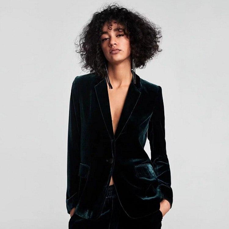 2019 frühling Herbst Dunkelgrün Velour Blazer Mantel Frauen Büro Dame Kerb Kragen Langarm Schlank Anzug Jacke Casual Outwear