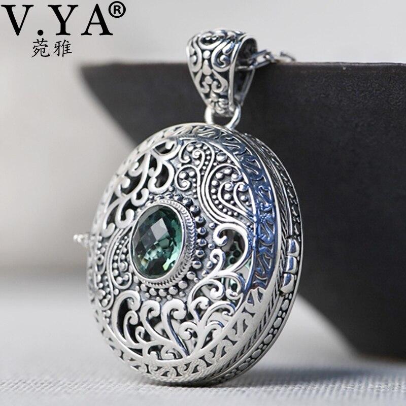 V. ya 925 pingente de corrente de prata esterlina gawu caixa opable flutuante medalhão pingente para jóias femininas prata cz pingente