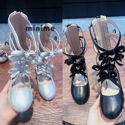 2020 New Girls Sandals Roman Shoes Princess Hollow Boots Single Bow Lovely Baby Shoes Girls' Sandals Children Shoes