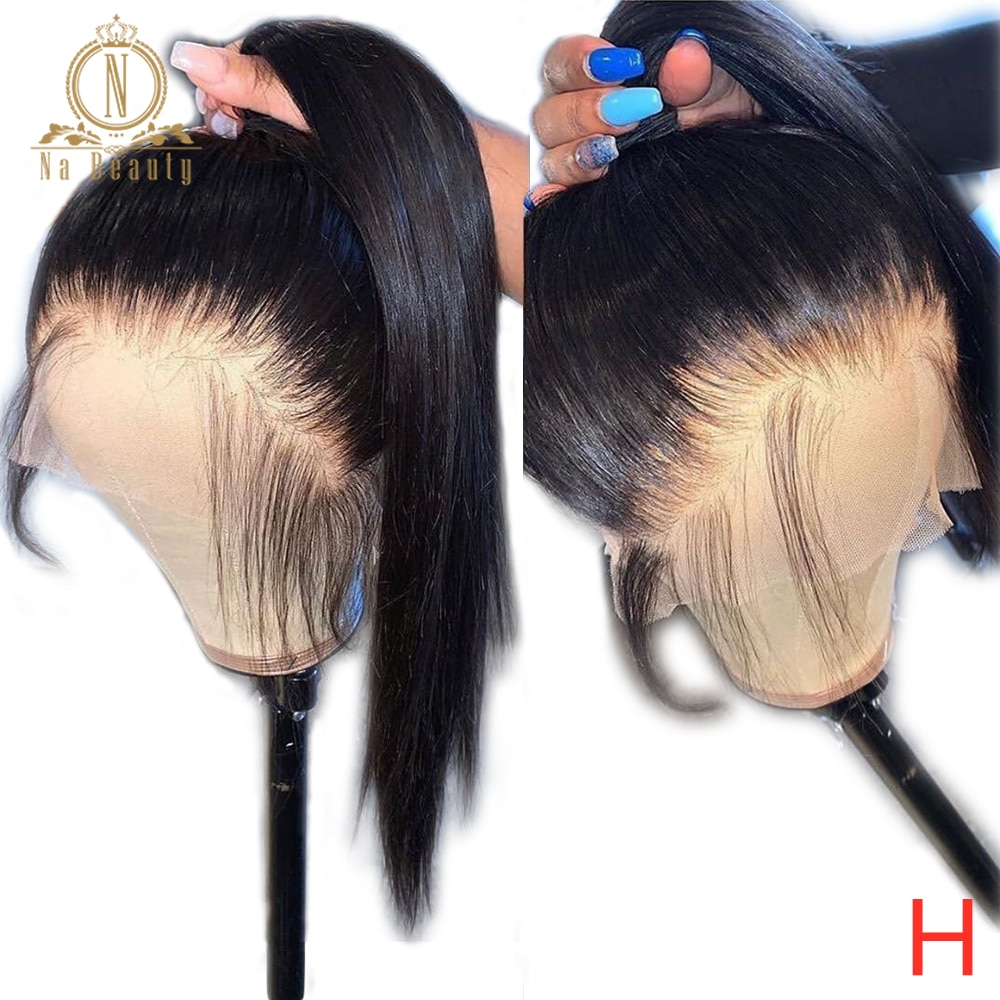 Full Lace Human Hair Wigs Pre Plucked Front Lace 360 Lace Wig Full Lace Human Hair Straight Wigs For Black Women Na Beauty 180