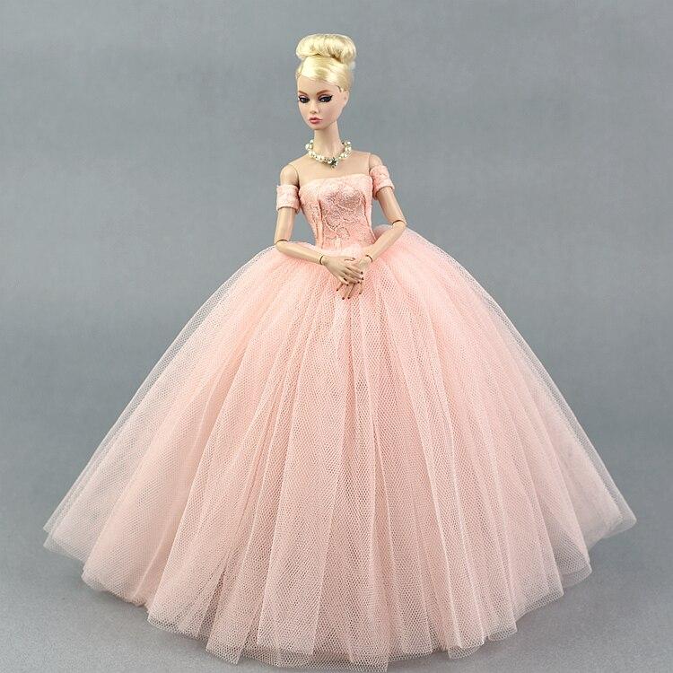 Vestido + velo/vestido de fiesta de encaje Rosa vestido de noche falda de burbuja Ropa Accesorios Para 1/6 BJD Xinyi FR muñeca de Barbie ST