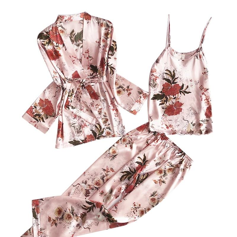 3pcs Women Pajamas Set Lady Emulation Silk Pyjama Sets Flower Print Sleepwear Female Homewear 2021 Spring Womens Home Clothes