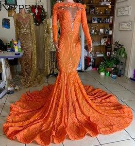 Long Sleeve Sparkly Sequin African Girl Prom Dresses 2021 Designed Beaded Sheer Top Orange Mermaid Long Prom Dress