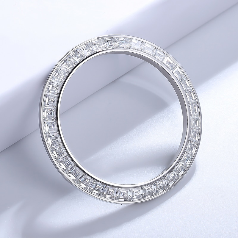 2021 Zhanhao Precision-Cut Equal Size Perfect Color Gradiation 40mm Moissanite Watch Bezel For Brands Watch Parts
