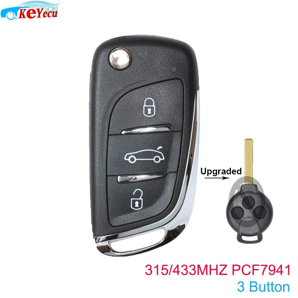 Keyecu atualizado flip remoto carro chave fob 3 botão 315/433 mhz pcf7941 para benz smart fortwo 451 2007 2008 2009 2010 2011 2012 2013