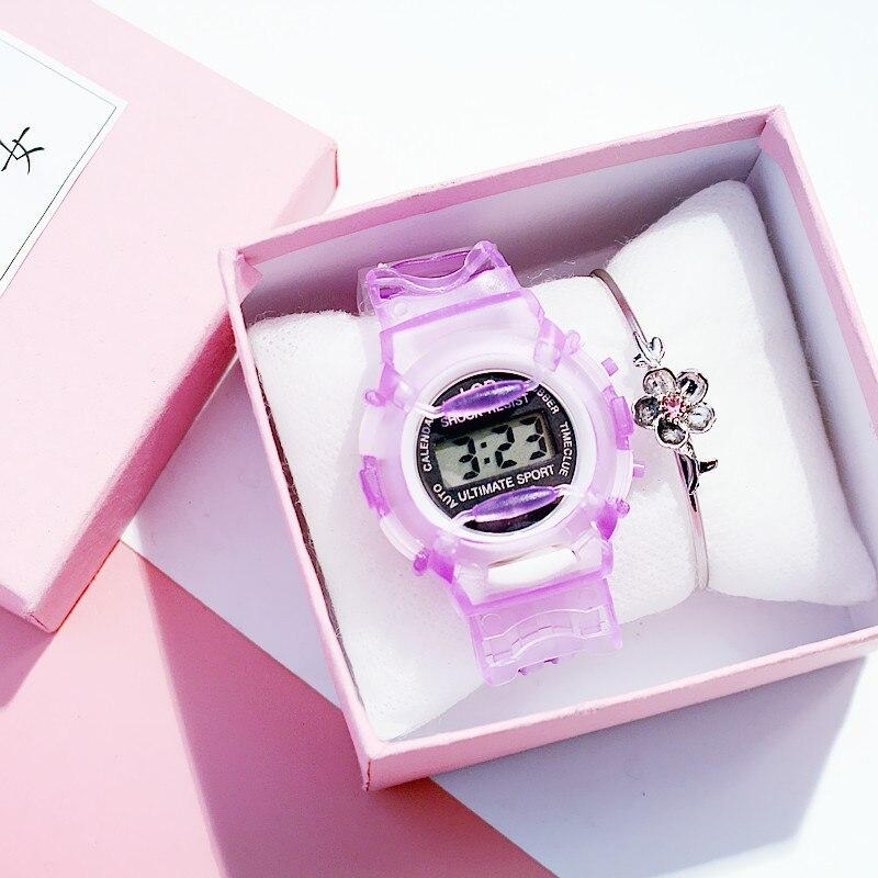 Correa chico silicona transparente para niños reloj Digital resistente al agua deporte para mujer relojes Simple chica cereza Rosa reloj montre fille