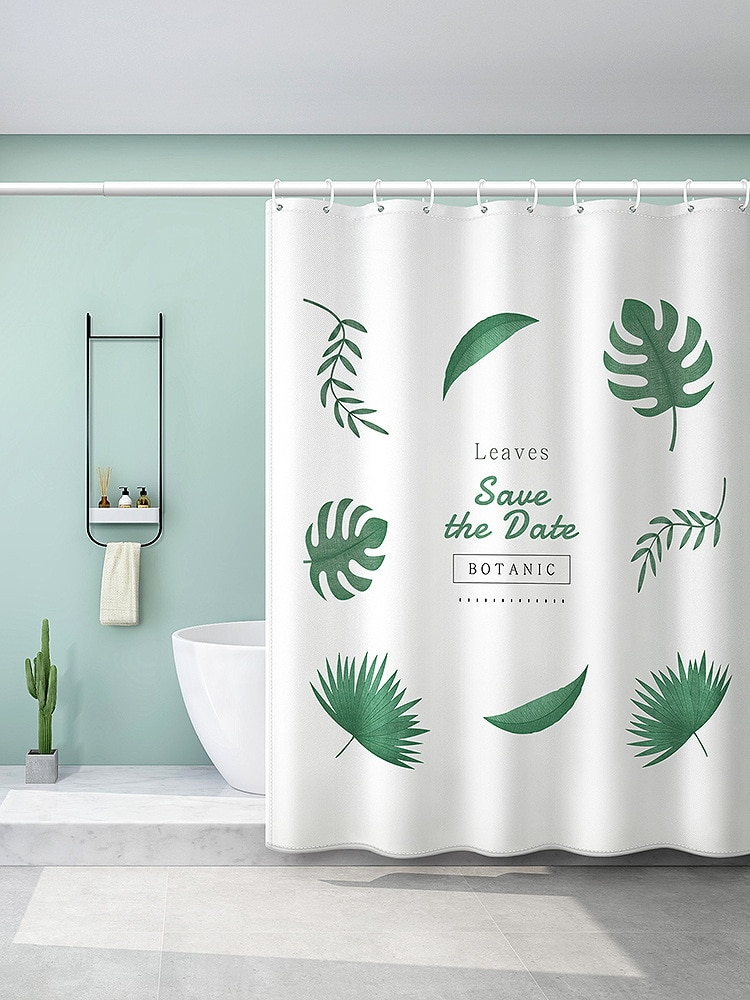 Waterproof Printed White Shower Curtain Leaves Beautiful Bathroom Shower Curtains Decor Rideau Douche Bathroom Accessorie BW50YL enlarge