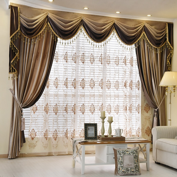 Luxury European Style Thickening Shading Pure Color Window Valance Italy Velvet Curtains for Living Room bedroom dining room 01