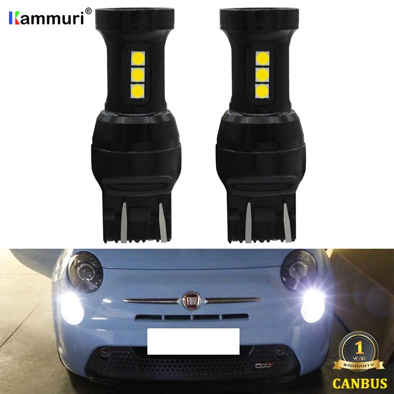 KAMMURI blanco W21/5 W LED CANBUS No Error 7443 T20 W21 5W bombilla LED para 2009-2016 Fiat 500 led día DRL luces de circulación diurna