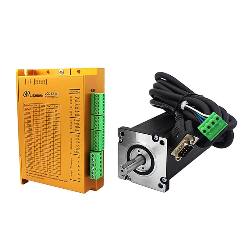 Kit de accionamiento de Motor de paso NEMA34 de circuito cerrado LCDA86H + 86mm motor 2 fases 6A 3 ~ 12Nm para enrutador CNC máquina de pelado de cables de grabado