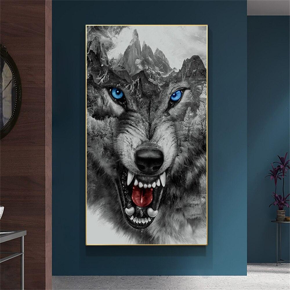 Свирепый волк, Картина на холсте, настенное искусство, животное, картина для гостиной, черно-белые плакаты и принты, скандинавский Декор для ...