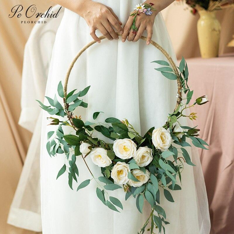 إكليل زهور الأوركيد ، باقة إكليل الزفاف ، أوراق اصطناعية ، سلة زهور عروس للزينة