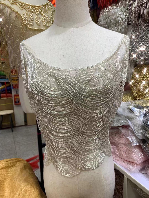 Flecos de cuentas totalmente hechos a mano, cinta con perlas de encaje con flecos de encaje de ajuste de tassle de encaje para vestido de novia/fiesta