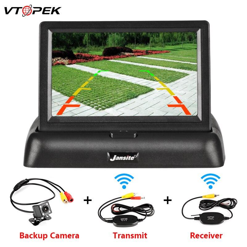 VTOPEK 4.3 Inch TFT LCD Car Monitor Foldable Monitor Screen Display Reverse Camera Parking System Car Rearview Monitors NTSC PAL