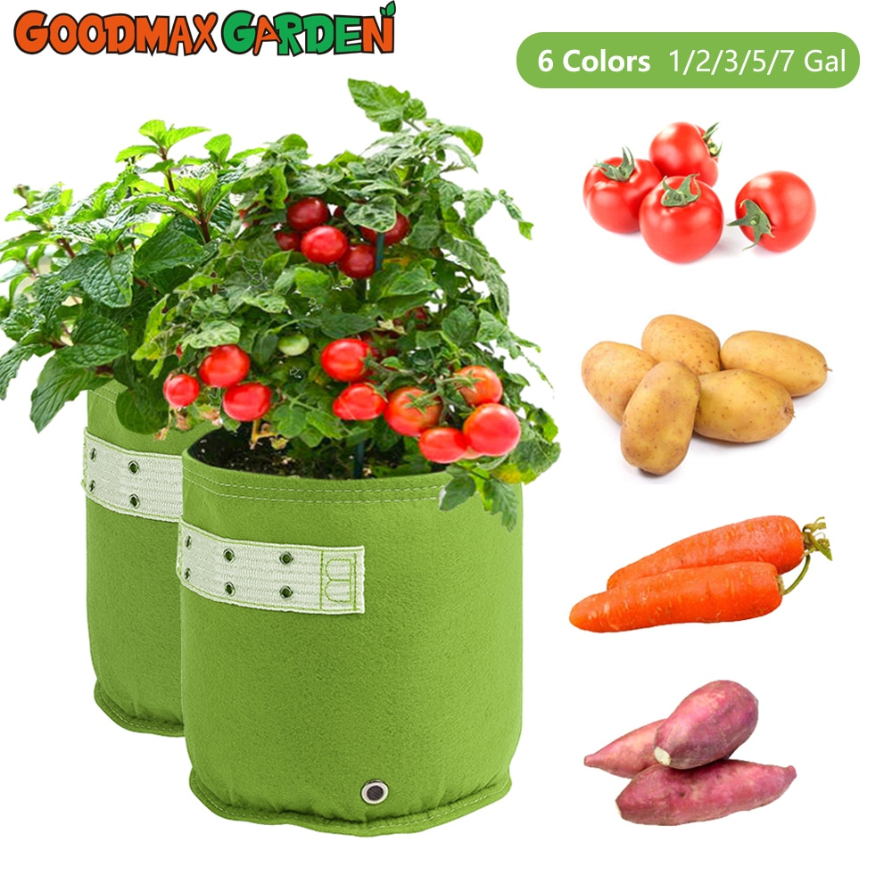 1 2 3 5 7 gallon green plant grow bag non woven fabric vegetable trees flower container cup nursery garden supplies flowerpot 1/2/3/5/7 Gallon Garden Plant Pots Grow Bags Flower Pot Strawberry Grow Bags Garden Tools Orchard and Garden for Vegetable Patch