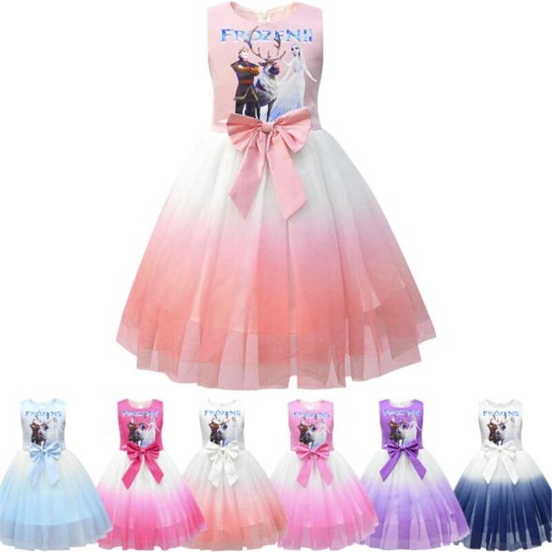 Disney Frozen Princess Summer Dress For Girls Birthday Gift Costume Party Princess Tutu Dress Kids Cartoon Mesh Dress Clothing