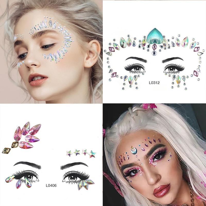 3D diamantes de imitación temporales adhesivos tatuaje brillantes joyas para la cara gemas fiesta maquillaje joyas para el cuerpo Flash tatuajes temporales falsos