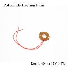 Plaque en Film chauffant Polyimide électrique   Plaque ronde 40mm 12V 0.7W PI tapis pour panneau chauffant électrotherma adhésif Flexible, chauffe-feuille