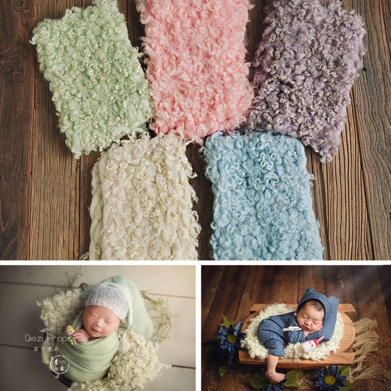 Newborn Photography Props Background Flokati 45x35cm Hand-Woven Double-Sided Pure Wool Curly Blanket Baby Fotografie Accessoires
