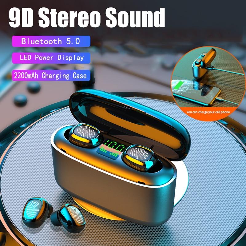Nuevos auriculares inalámbricos Bluetooth TWS con pantalla LED y Control táctil, Auriculares deportivos con cancelación de ruido para todos los teléfonos