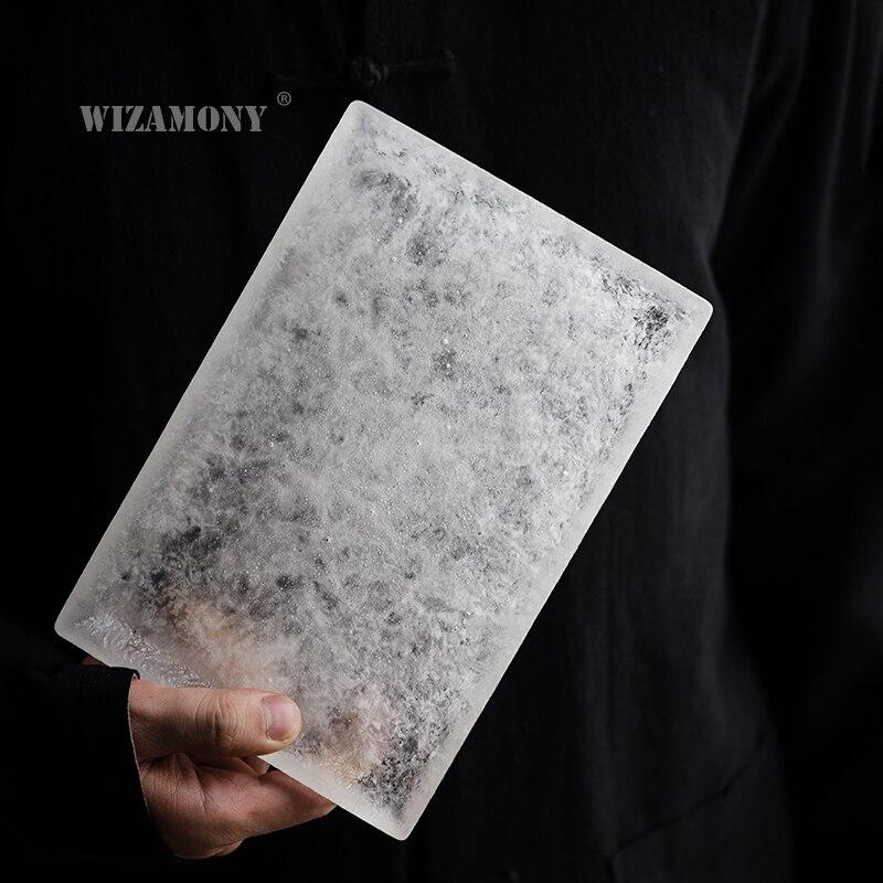 WIZAMONY 手作りアイス窯釉薬茶トレイ茶 Trivets 正方形水ホルダー和風乾燥醸造茶テーブル
