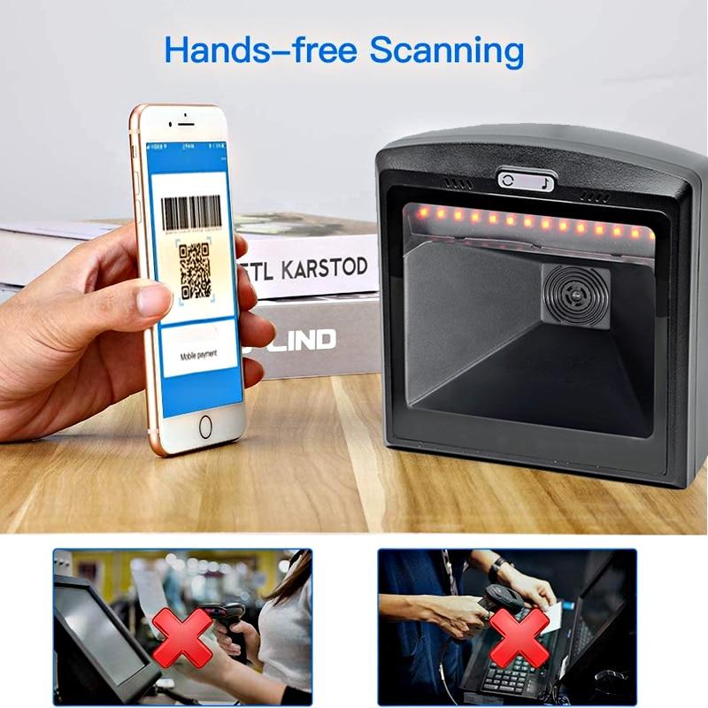 1D 2D Barcode Scanner, QR Omnidirectional Desktop USB Wired Virtual COM Port Automatic Bar Code Reader, XB-802D enlarge