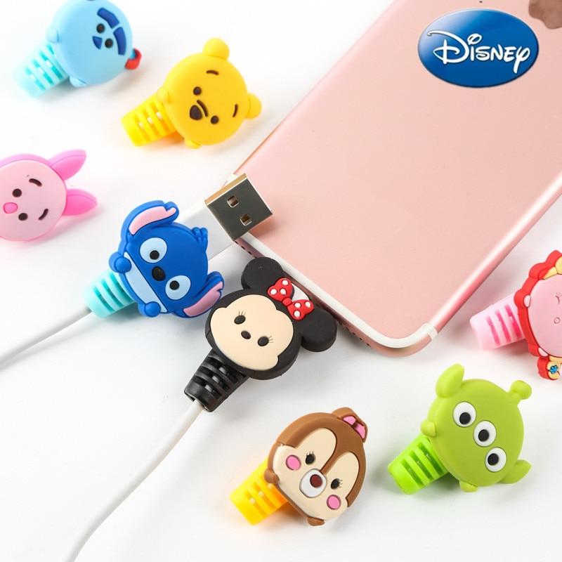 2pcs Disney Protector de Cable Minnie Stitch cargador enrollador de Cable USB...