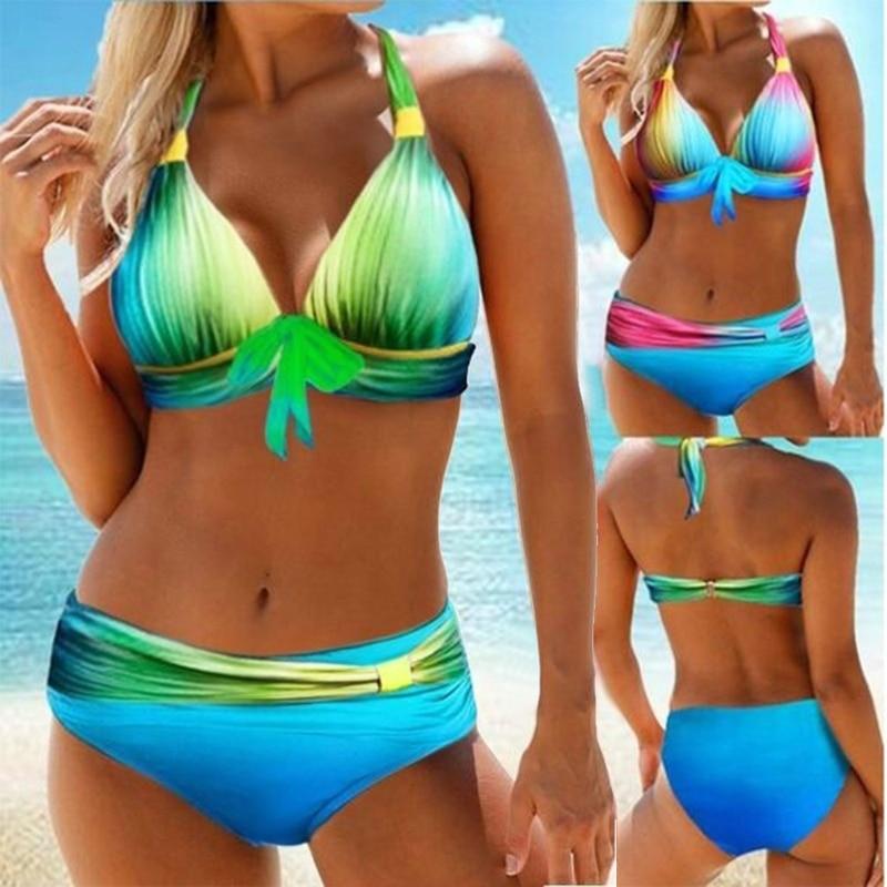 Sexy Bikini Set de baño mujeres 2020 Gradiente 2 piezas de traje de baño sin espalda Biquini empuja hacia arriba el traje de baño femenino de talle alto Bikinis