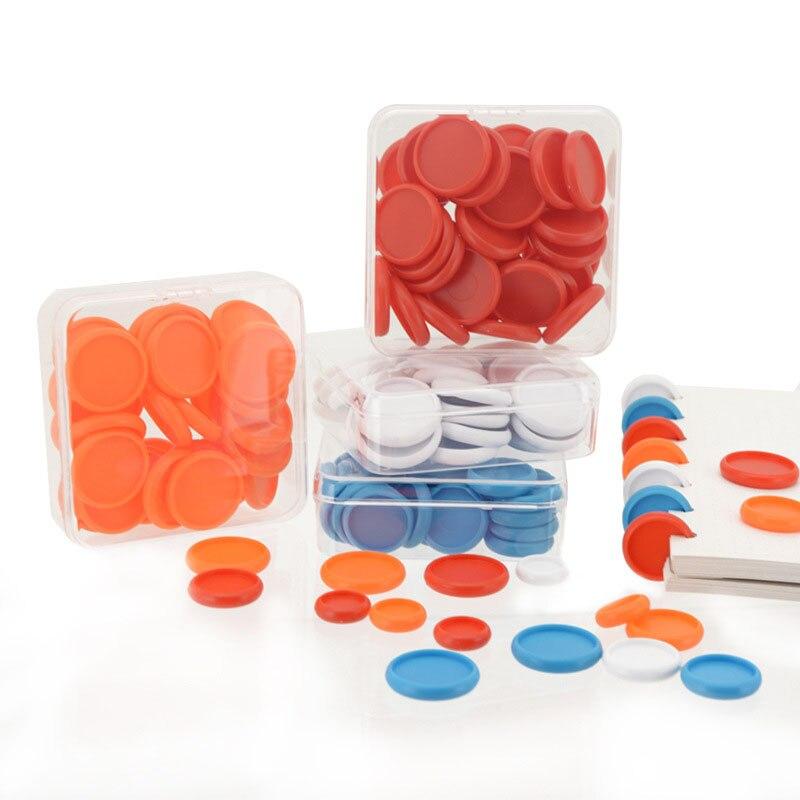 500 pces 32mm discos de ligação plástico multicolorido cogumelo buraco ligação disco 360 graus diy loose-leaf notebook bobina anel de ligação de