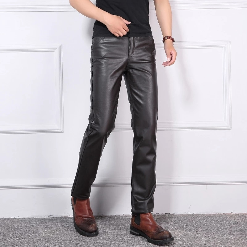 2021 Autumn Winter Youth Leather Pants Men New Slim Genuine Cowhide Leather Pants Top Layer Motorcycle Pants Casual Trousers