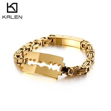 KALEN Bulgaria Gold Byzantine Chain Bracelet Men 22cm 4 Color Stainless Steel Hollow Charm Wristband Jewellry 2020