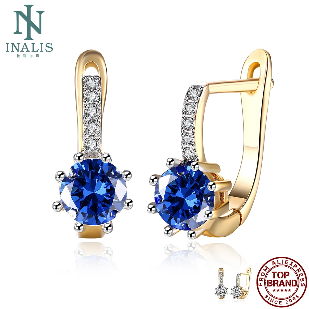INALIS Stud Earrings For Women Round Colorful Cubic Zirconia Copper Earring Korean Style Female Fashion Jewelry Girlfriend Gift недорого