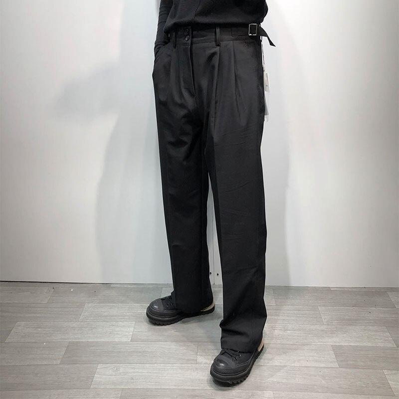 جديد حجم كبير النمط التقليدي بسيط لون نقي فضفاض ونحيف الرجال عادية السراويل المستقيمة عالية الخصر السراويل هارين السراويل