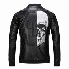 Rhinestones 2021 Skull PU Jackets Men Black High Street Stand-Neck Zipper Rib Sleeve Streetwear Moto