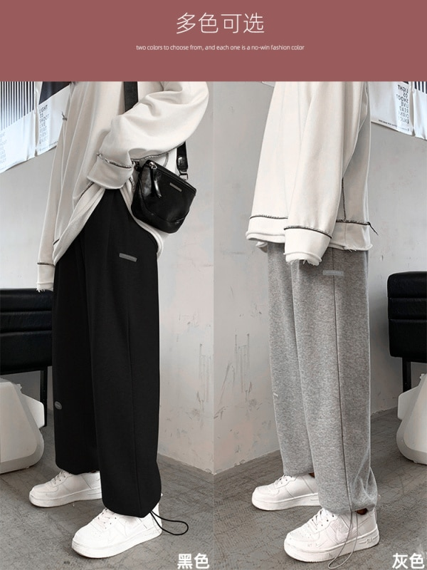 Gray Sports Pants Female Loose Tappered Autumn and Winter High Waist