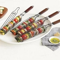 barbecue net grilling storage basket with wooden handle meshes portable outdoor bbq clip tools for kitchen accessories