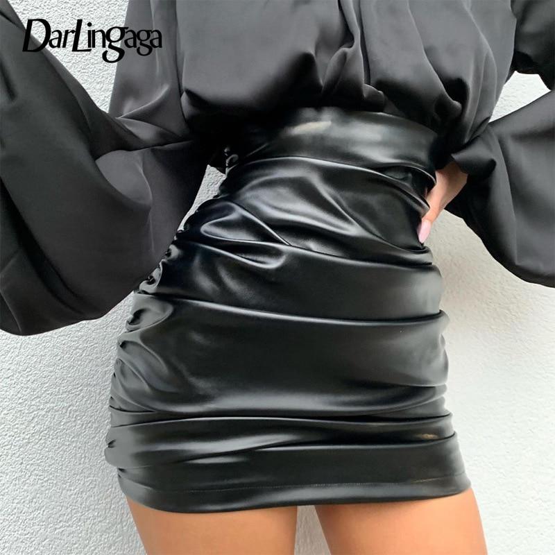 Darlingaga mode moulante ruché PU cuir jupe 2020 printemps été taille haute jupe femmes Mini mince fête jupes tenues Saia