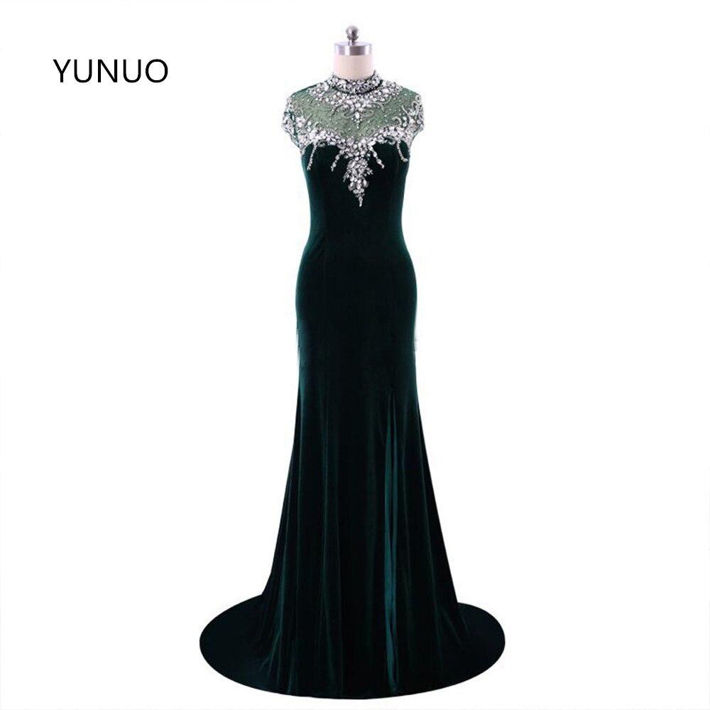 YUNUO nueva moda vestidos de graduación de terciopelo 2020 para la ocasión especial de cuello alto Sexy de cristal de sirena de la tapa con reborde manga S120101