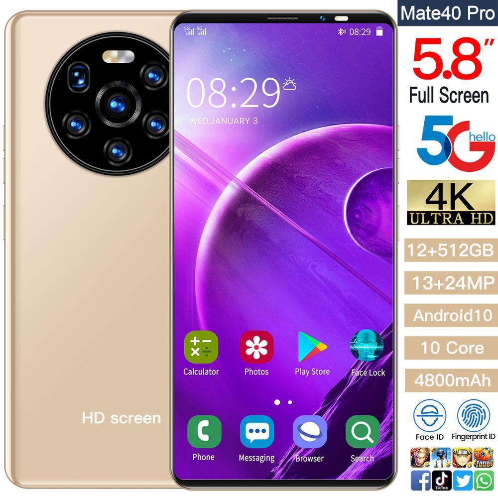 Mate40pro Cheap Smart Phone 5.8 Inch 4+64GB Face ID Dual SIM Andriod Phone 13+24MP 4800mAh 10 Core MTK6889 Cellphones Celular