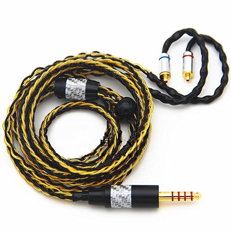 HiFi Ausgewogene Audio Kabel 3,5mm TRS TRRS 2,5mm TRRS 4,4mm 6,35mm 4 Pin XLR MMCX 8-core Einzigen Kristall Kupfer Überzogene Gold Silber