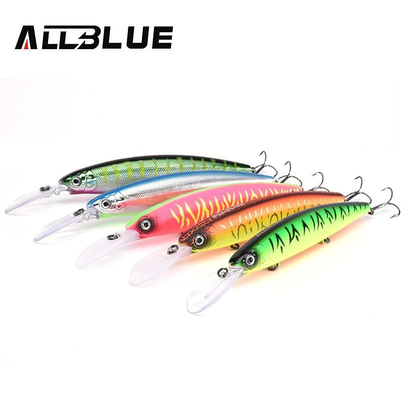 ALLBLUE Professional 130mm 27.5g Fishing Lure Wobbler Slow Floating Minnow 2.5-3M Longbill Crankbait Pike Plastic Bait Tackle