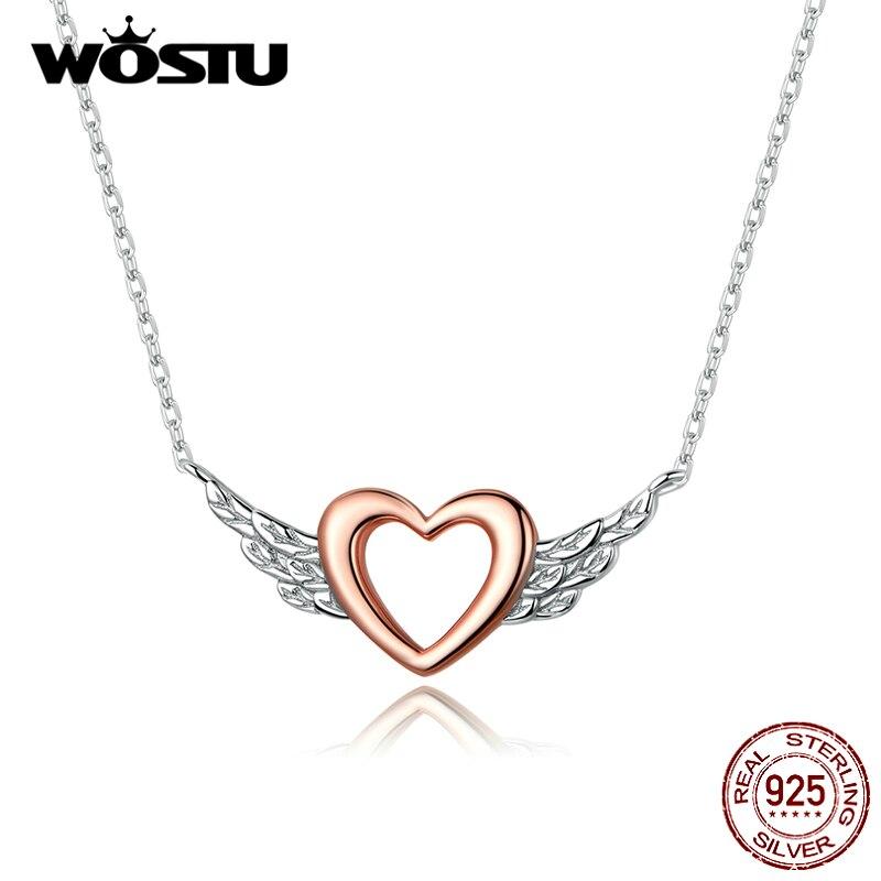 Wastu collar con alas en forma de corazón de Plata de Ley 925, corazón de oro rosa, eslabón de cadena largo para mujeres, boda, regalo de joyería de compromiso CTN162