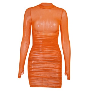 Mesh round neck long-sleeved dress women European and American new sexy party bottoming pleated one-step skirt