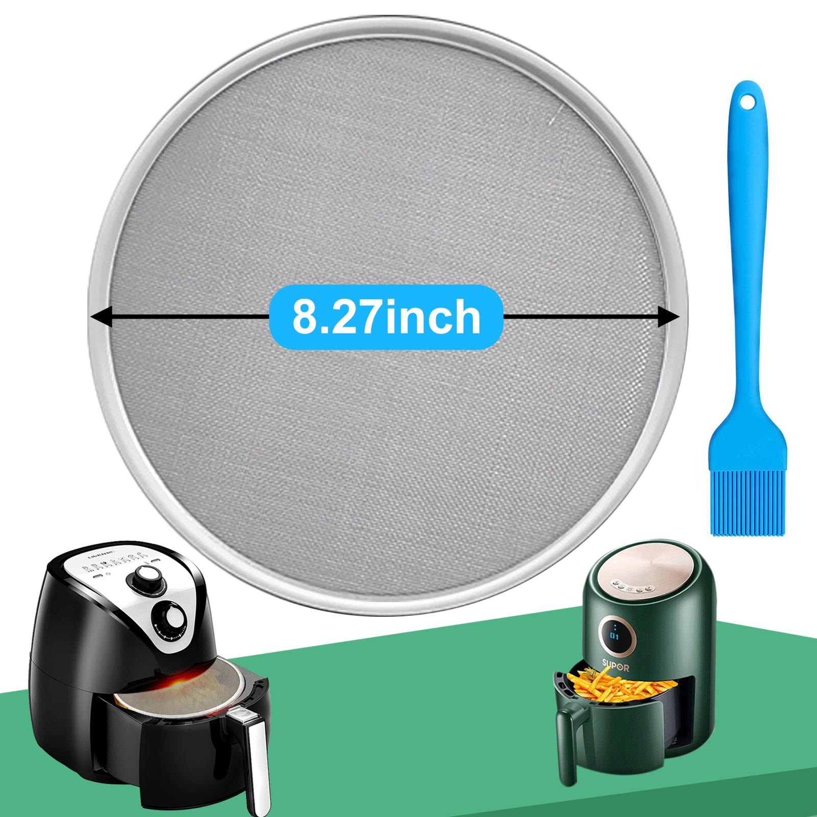 Air Fryer Accessories Splash Lid Screen Oil-Proof Net Stainless Steel Oil Splash Fine Mesh Air Frying Pot Splatter Screen Guard
