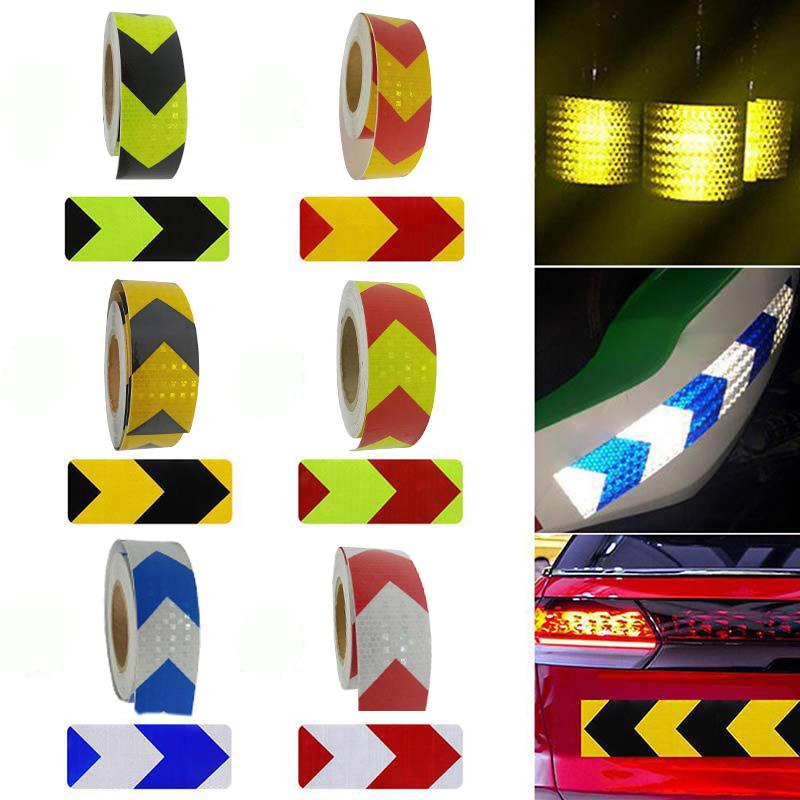 8 pcs set reflective opening sticker access control warning safety car shape car sticker car decoration night light strip 6 Colors Car Reflective Tape Car Safety Mark Reflective Arrow Strip Stickers Warning Light Reflector Sticker Warning Tape 5cm*3m