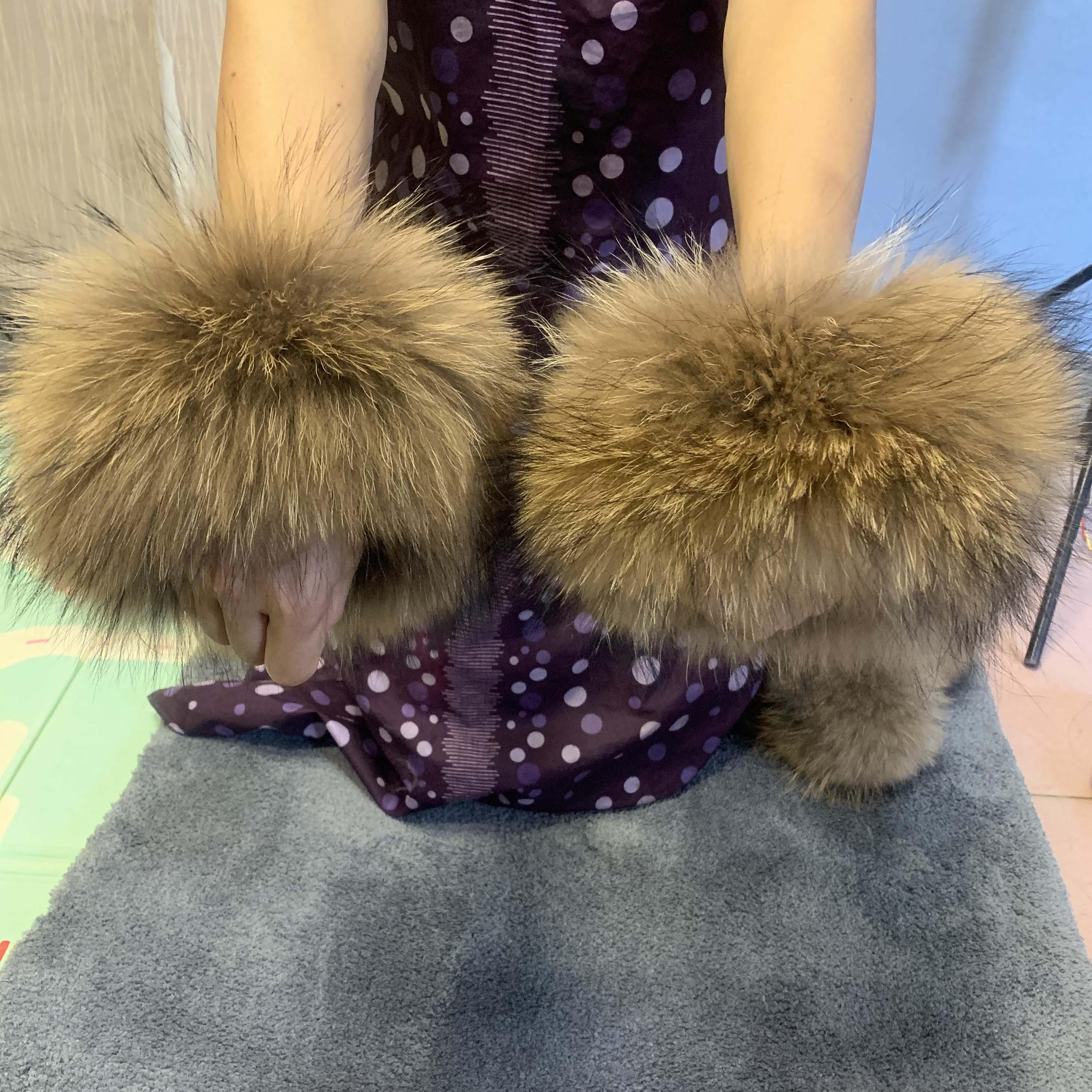 REAL Raccoon Fur Cuff Fox Fur Cuff Fur Cuff Fur Sleeve Fur Sleeve Pat I Circle Hair  Boots