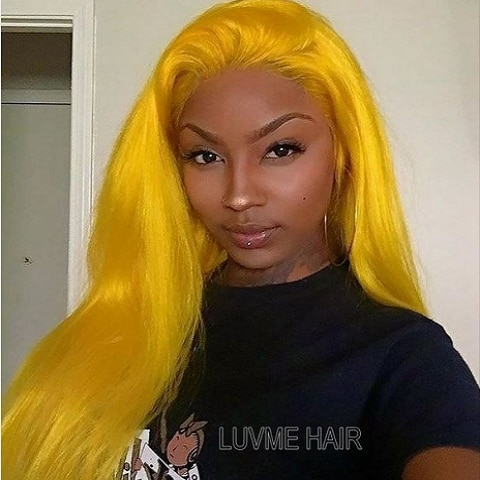 Yellow Straight Lace Front Wigs Brazilian Virgin Human Hair Glueless Pre Plucked 180 Density