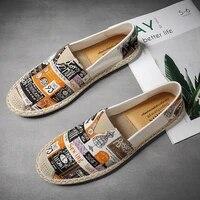 men summer fashion flats canvas shoes casual linen loafers shoes male hemp espadrille weaving colorful fisherman shoes