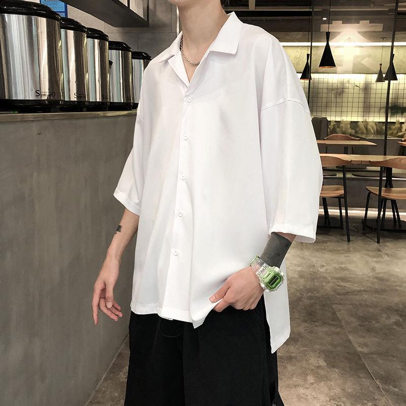 Solid Color Formal Shirt Men Korean Fashion Loose Business Casual Shirt Men Harajuku Streetwear Social Short-sleeved Shirt Men